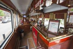 啤酒电车在赫尔辛基 图库摄影