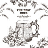 啤酒的向量例证 酿造的原材料:分支蛇麻草和大麦 客栈菜单集合 木的杯子 图库摄影