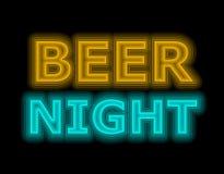 啤酒的夜霓虹灯广告桔子和蓝色 免版税图库摄影
