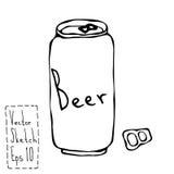 啤酒罐和钥匙乱画Sketsh 酒吧传染媒介例证 免版税库存照片