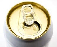 啤酒罐特写镜头上面  免版税图库摄影