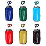 啤酒罐的汇集用蓝色不同的颜色,绿色,红色,金子,黑褐色 免版税库存照片