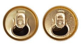 啤酒罐顶视图 免版税库存图片