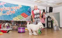 啤酒舍瓦,以色列-扮小丑和两白色马戏长卷毛狗, 2015年7月25日 免版税库存照片