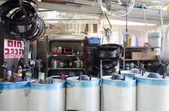 啤酒舍瓦,以色列 2月29日-太阳锅炉 库存照片