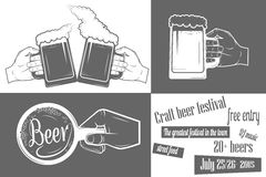 啤酒节日两色海报 免版税图库摄影