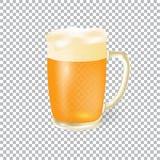 啤酒节日  在一个杯子的低度黄啤酒有泡沫的,隔绝在验查员背景 例证 向量例证