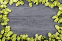 啤酒花球果树框架在黑木背景的 啤酒生产的成份 与拷贝空间的顶视图您的文本的 免版税库存图片