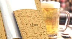 啤酒菜单在餐馆 库存图片