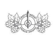 啤酒轻拍和蛇麻草 库存照片