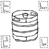 啤酒金属桶 啤酒小桶乱画样式剪影 手拉的向量例证 图库摄影