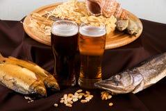 啤酒集合快餐 免版税库存图片