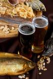 啤酒集合快餐 库存照片