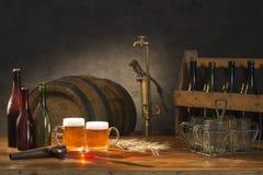 啤酒静物画 库存图片