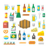 啤酒项目平的设计被设置的 库存例证