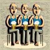 啤酒饮用的朋友 向量例证