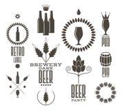 啤酒 葡萄酒 标签和象 向量例证