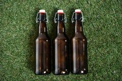 啤酒说谎在草的三个玻璃瓶 免版税库存图片