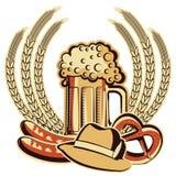 啤酒oktoberfest标志。向量图形illustratio 库存图片
