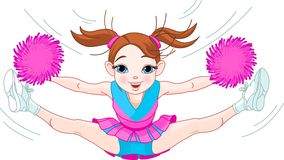 啦啦队欢呼逗人喜爱女孩跳的航空 免版税库存照片