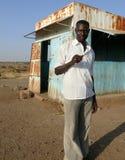 喀土穆,苏丹- 2008年10月22日:一个未知的人-警察 库存照片