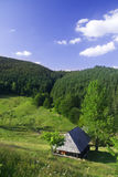 喀尔巴阡山脉的乡下房子山 免版税库存图片