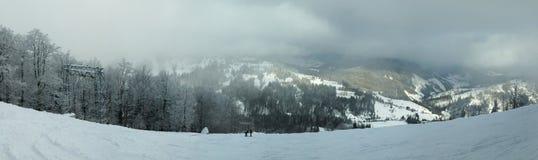 喀尔巴阡山脉的山全景冬天 免版税库存图片