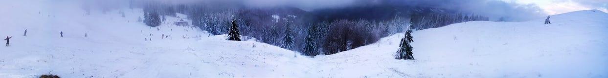 喀尔巴阡山脉的山冬天 免版税库存照片