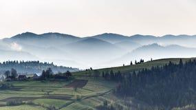 喀尔巴阡山脉的山顶视图 有雾的早晨 在山的秋天 免版税库存图片