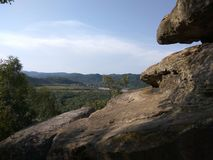 喀尔巴阡山脉的山顶视图 免版税库存照片