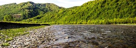 喀尔巴阡山脉的河 库存照片