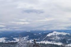 喀尔巴阡山脉的美好的冬天全景 库存照片