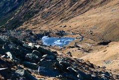喀尔巴阡山脉的glaciar湖 免版税库存照片
