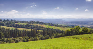 喀尔巴阡山脉夏天下午风景 库存图片