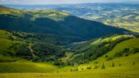 喀尔巴阡山脉的域森林山临近全景路 库存照片