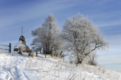 喀尔巴阡山脉的山日出 免版税库存照片