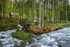 喀尔巴阡山脉的山顶视图 在瀑布Shipot附近的山河 库存图片