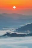 喀尔巴阡山脉的山顶视图 在薄雾盖的山在日出 库存照片