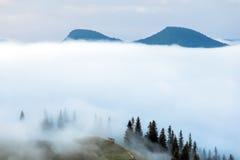 喀尔巴阡山脉的山顶视图 在雾的山 图库摄影