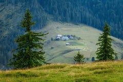 喀尔巴阡山脉的山顶视图 绿色的山村倾斜Dzembronya 免版税库存图片