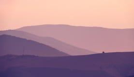 喀尔巴阡山脉的晚上 免版税库存图片