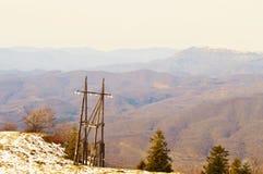 喀尔巴阡山脉的森林和山 库存图片