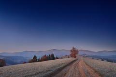 喀尔巴阡山脉的黎明在11月 乌克兰 库存照片