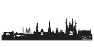 喀山俄罗斯市地平线详细的剪影 皇族释放例证