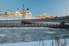 喀山克里姆林宫和河Kazanka 鞑靼斯坦共和国,俄罗斯 免版税库存照片