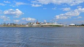 喀山克里姆林宫,俄国的全景 免版税库存图片