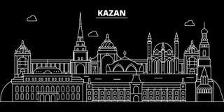 喀山剪影地平线 俄罗斯-喀山传染媒介城市,俄国线性建筑学,大厦 喀山旅行例证 向量例证