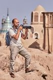 喀山古镇,伊朗,一个单独游人的唯一旅行 免版税库存图片