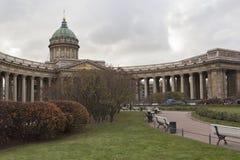 喀山大教堂在城市圣彼德堡 免版税库存照片