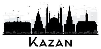 喀山市地平线黑白剪影 库存图片